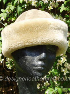 Beige Suede Finish Sheepskin Hat for a Lady