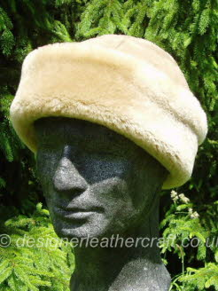 Beige Suede Finish Sheepskin Hat for a Man