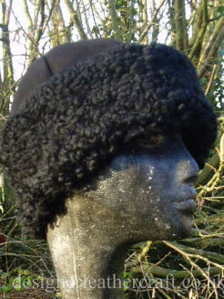 Black Sheepskin Hat with Curly Sheepskin Band for a Lady