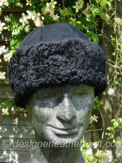 Black Sheepskin Hat with Curly Sheepskin Band for a Man