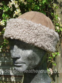 Camel Sheepskin Hat with Curly Taupe Sheepskin Band