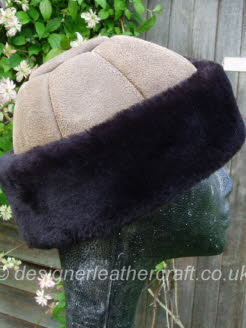 Camel Sheepskin Hat with Dark Brown Band for a Lady