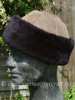 Camel Sheepskin Hat with Dark Brown Band for a Man