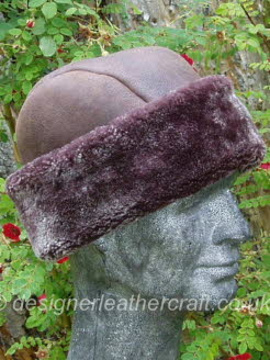 Mens Sheepskin Hat in Burgundy Brown Brisa