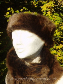 Shaped Amandari Toscana Shearling Headband H2 Pictured with a Tippet Collar