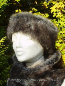 Shaped Grey Wolf Toscana Shearling Headband H4 Pictured with a Tippet Collar