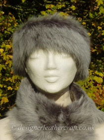 Shaped Grey  Brisa Toscana Shearling Headband H10 Pictured with a Tippet Collar