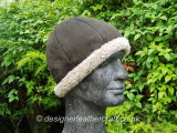 Sheepskin Beanie Hat in Brown Suede Finish with Natural Colour Wool